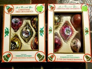 Vintage Christmas Glass Ornaments European Lot of 10 Drops, Indent Frosted