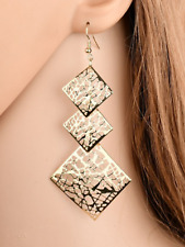 Ladies 925 silver earrings triple square big drop design jewellery present gift