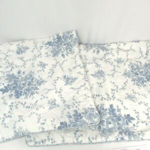 """Laura Ashley 2 King Pillow Shams Sophia Blue White Corded Quilted 25"""" x 41"""" Inch"""