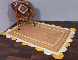 beige colour white/yellow scalloped border jute rug boho decor rug teppich rugs