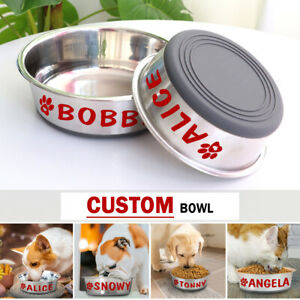 Personalized Dog Bowl with Name Anti-Slip Stainless Steel Dog Food Water Feeder