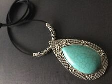 Long Suede Necklace With A Very Large Statement Ethnic Tibetan Turquoise Pendant