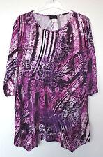 NEU Übergröße schickes Damen Stretch Long Zipfel Shirt 3/4 Arm lila Gr.56,60