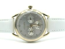 Brand New Authentic Citizen Watch with White Leather Strap and Swarovski