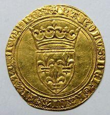 Très belle monnaie - Charles VI - Ecu d'or à la couronne - 1385 - Tournai -