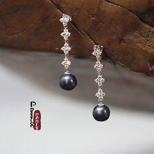 Boucles d`Oreilles Fin CZ Perle de Culture Baroque Gris Noir Argent 925 Class 4