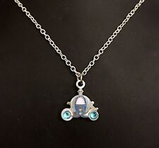 "Disney 22"" .925 Sterling Silver Necklace w/ Cinderella's Carriage Charm Retired"