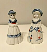 "Two  ""Southern Bell "" Girl Bell Figurines Blue & White Porcelain  Nice Tone!"