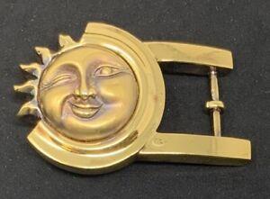 Kieselstein Cord Sterling Sun Belt Buckle - 1990 Gold Plated Smiling winking