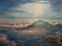 """""""Stormy Seas"""", original acrylic painting of stormy seas with lighting in the sky"""