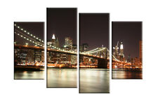 "LARGE NEW YORK AT NIGHT CANVAS PICTURES BROOKLYN BRIDGE SPLIT MULTI PANEL 40"""