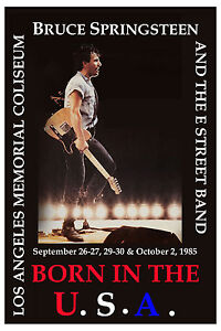 Bruce Springsteen & E Street Band at L.A. Memorial Coliseum Poster 1985  12x18