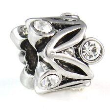 Wholesale 20pcs CZ Flower Silver European Spacer Charm Beads For Bracelet D634