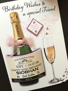 Hand-made personalised  5x7 Champagne Label birthday card ( request colours)