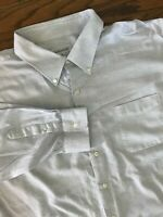 Joseph & Feiss White Blue Check Long Sleeve Button Front Dress Shirt 20, 34/35