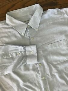 Joseph & Feiss White Blue Check Long Sleeve Button Front Dress Shirt 20, 34/35