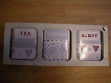 Siguiente Conjunto de 3 gris blanco rojo corazón Té Azúcar Café cajas de almacenamiento Latas