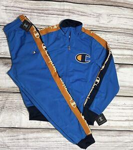 Champion Men Size Small 2pc Set 100% Authentic Men TrackSuit Blue Pant & Jacket
