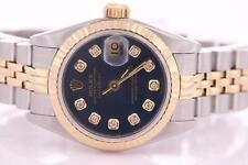 Rolex Datejust Ladies Stainless Steel and Gold Automatic Blue Diamond Dial Watch