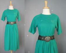 Green Knit Dress / Vtg 80s / Talbots Short Sleeved Green Knit Dress