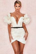 HOUSE OF CB 'Agatha' Ivory Organza Mini Dress M 10 / 12 SS 18782