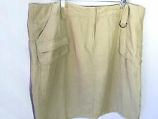 Kenneth Cole Sage Silk Linen Skirt 20W Front Hip Pockets
