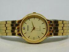 "Gruen Precision Diamond Gold Tone Quartz Analog Ladies Watch Sz. 6 3/4"""