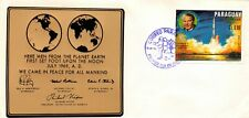 Apollo 11 Paraguay 4 Fdc Covers/Stamps Each With Metal Plaque (Sc# 1232,3,7,8)