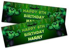 X2 Personalizado Cumpleaños Banner Hulk Niños Niños Fiesta Decoración Cartel 4