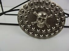 New Belt Buckle Skull Crossbones Silver Spikes Pirate Punk