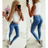 Womens High Waisted Stretchy Slim Fit Skinny Jeans Denim Jeggings Trousers Pants