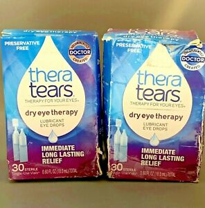Thera Tears Dry Eye Therapy Lubricant Eye Relief 30 Vials (2 PK) Exp 6/21+