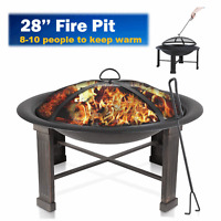 """28"""" Fire Pit Outdoor Bowl Wood Burning Camping Stove Fireplace Heater with Cover"""