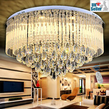 Geniune K9 Crystal LED Round Ceiling Chandelier 3 Light Colour+Remote Ctrl 65cm