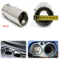 58mm ID Car Chrome Bevel Exhaust Pipe Tip Muffler Stainless Steel Trim Tail Tube