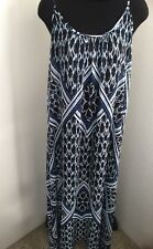 Express Maxi blue multi lined sheer boho Spaghetti Strap straps Dress size M