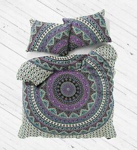 Bohemian Mandala Twin Size Comforter Hippie Doona Duvet Cover With Pillowcases