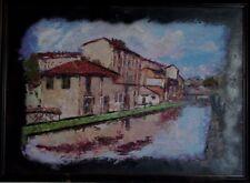 Aceite de pintura original Italia paisaje impresionista antiguo de Milán