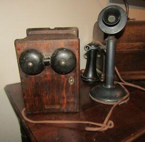Antique Western Electric 40AL Candlestick Telephone & 315 Western Elec Ring Box