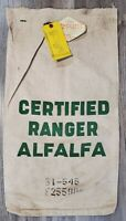 Vintage Green Logo Certified Ranger Alfalfa Seed Sack Bag With Tags 1952 Iowa