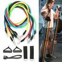 11Pcs/Set Resistance Bands Exercise Yoga Crossfit Fitness Training Tubes Set UK