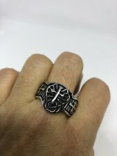 Vintage Gothic Silver Stainless Steel Cross Crest Size 8 Men's Ring