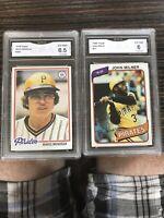 Mario Mendoza 1978 Topps 383, John Milner 1980 Topps 71. GMA 6.5 Pirates. PSA