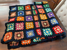 "Vintage 1970's Granny Square Crochet Knit Afghan 72x51"" Throw -Boho Multi Color"