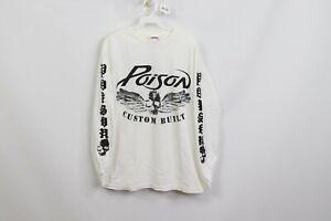 Vintage Mens Medium Poison Custom Built Spell Out Rock N Roll Long Sleeve Shirt