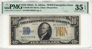 1934 A $10 SILVER CERTIFICATE NORTH AFRICA FR.2309 BA BLOCK PMG CHOICE VF 35 EPQ