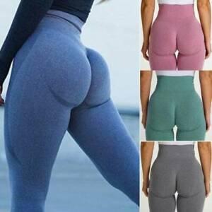 Seamless Women Yoga Pants High Waist Push Up Fitness Sports Gym Workout Leggings