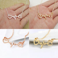 Medical Electrocardiogram ECG Heart Cat Paw Charm Necklace Doctor Nurse Jewelry