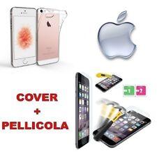 Custodia Cover Case Slim silicone trasparente iphone SE 5 5S + Pellicola Vetro