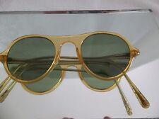 Retro Vintage  sunglasses Blonde G15 green glass lens Round  frames